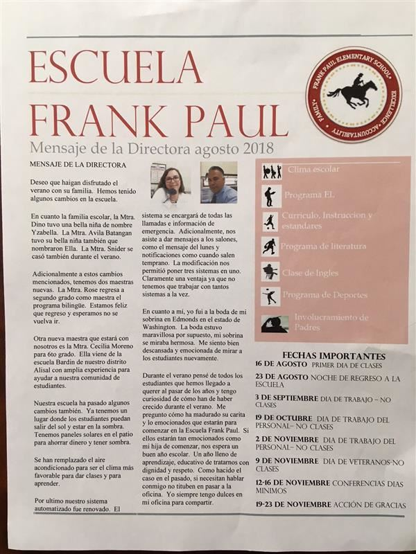Frank Paul newsletter in Spanish