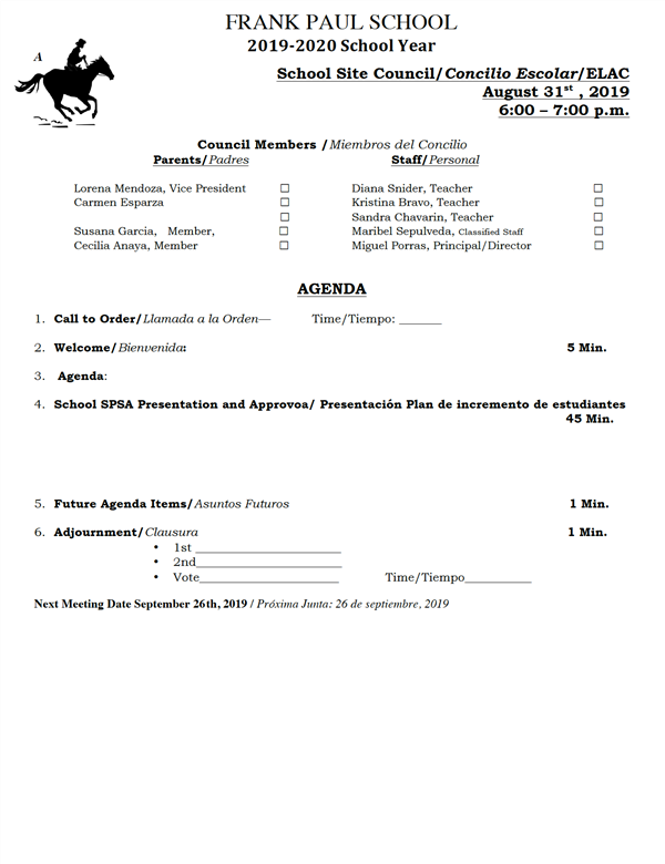 August 20, 2019-School Site Council Agenda/Agenda del Concilio Escolar
