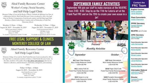 September Newsletter of the Alisal Family Resources Centers