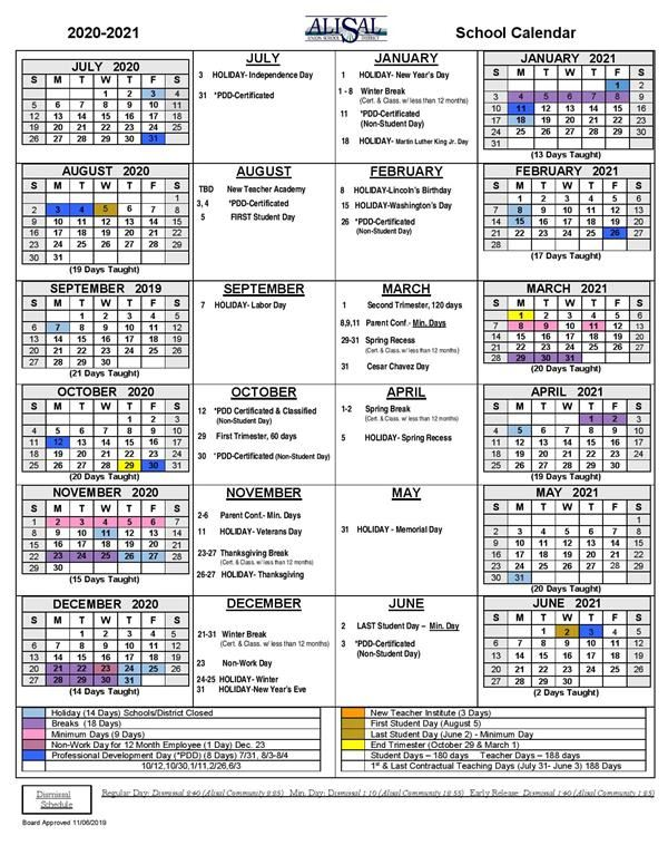 District School Year Calendar / District School Year Calendar