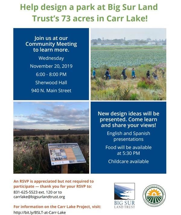 Announcement for Carr Lake Design