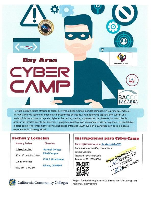 Flyer for cyber camp classes