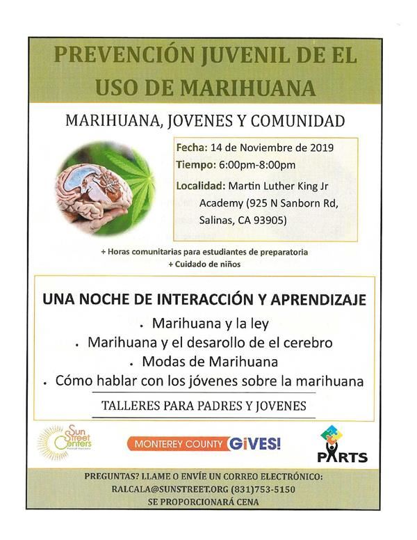 Flyer on marihuana use prevention