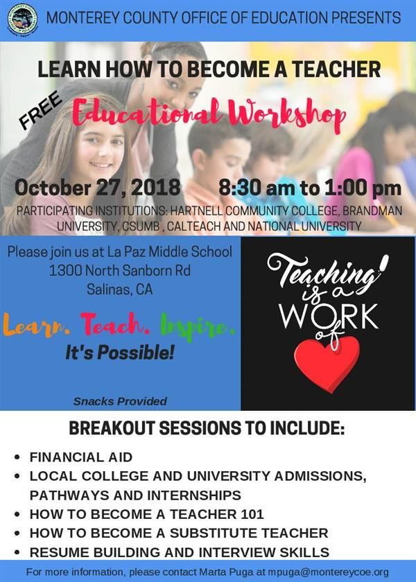 Flyer on teacher workshop