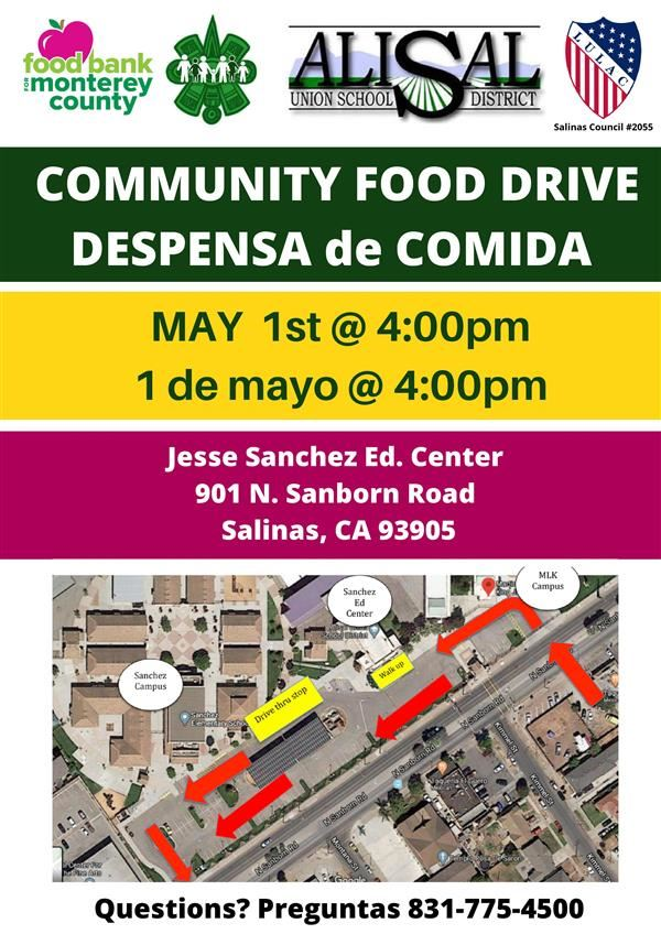 May 1 food drive flyer