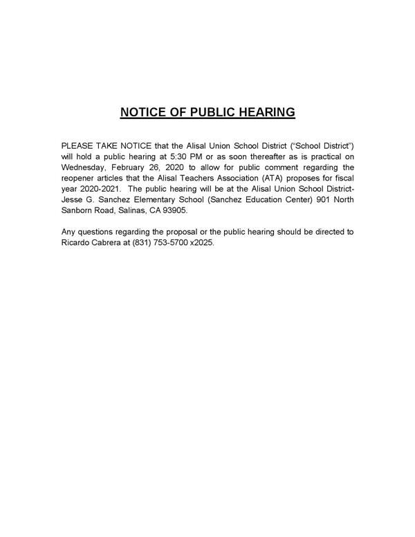 Flyer --  notice of public hearing