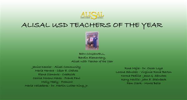 Alisal USD honors teachers of the year