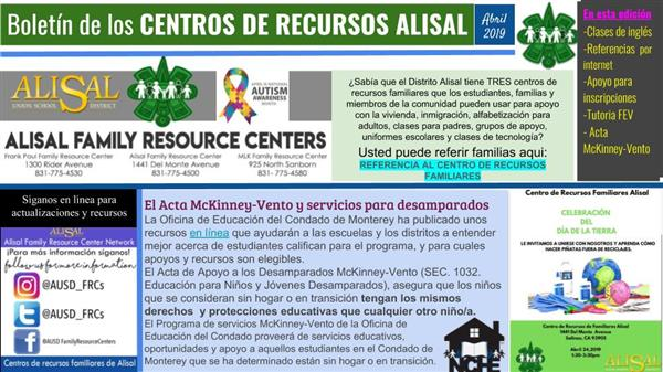 Alisal Family Resource centers bulletin in Spanish