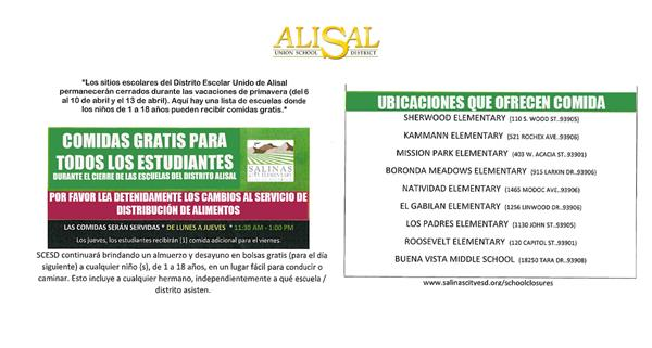 Flyer for food distribution Spanish