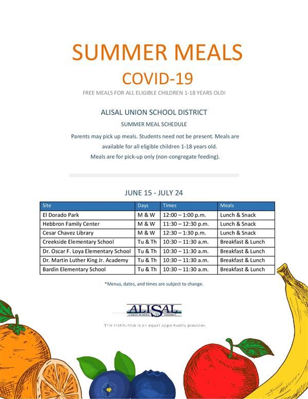 Flyer for summer meals