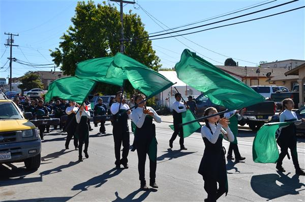 Color guard parading through Salinas