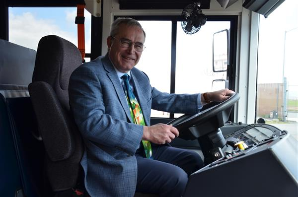 Jim Koenig drives the bus