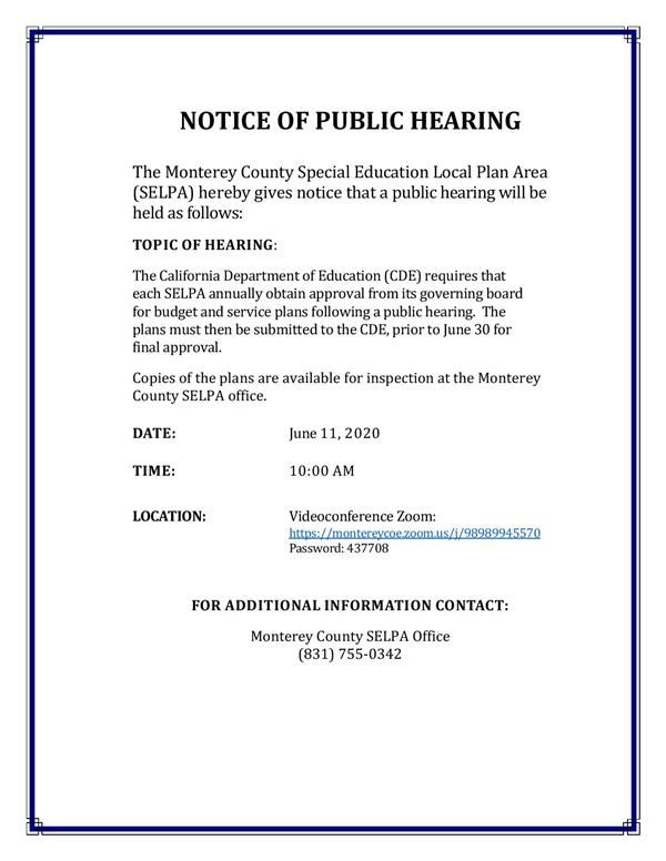 Flyer of notice of public hearing