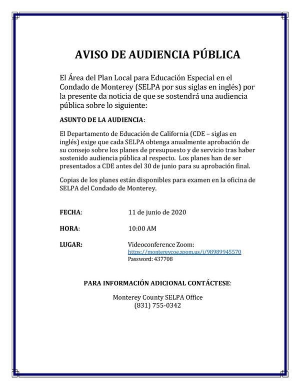 Flyer of notice of public hearing in Spanish