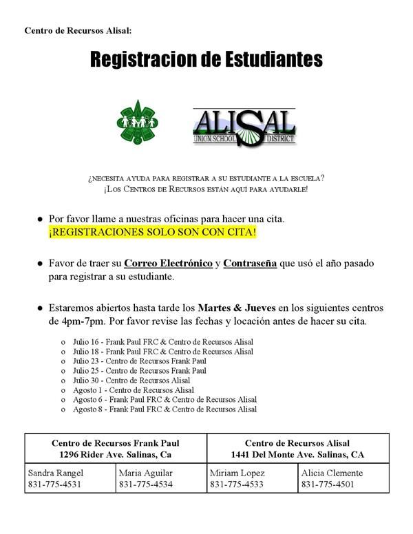 Student registration in Spanish